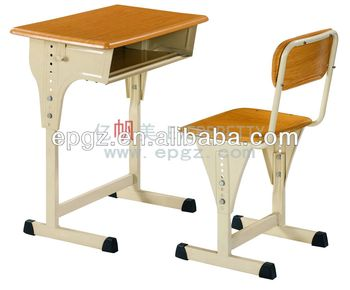 Height adjustable single student desk and chair in wood for elemantary/primary/high school