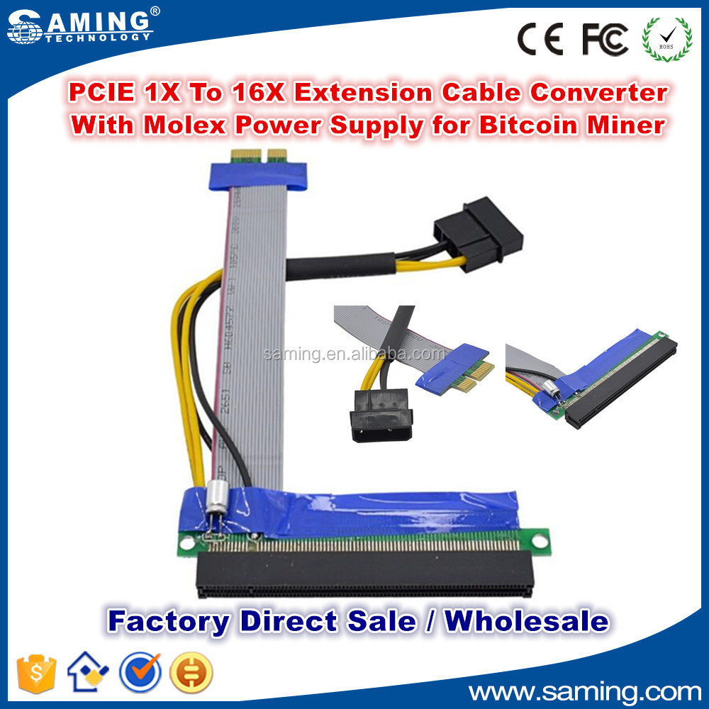 PCI Express 1X to16X Riser Adapter Card Extension Cable Converter With Molex Power Supply for Bitcoin Miner