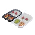 Disposable takeaway 3 compartment plastic fast food packaging box/Plastic food tray packaging
