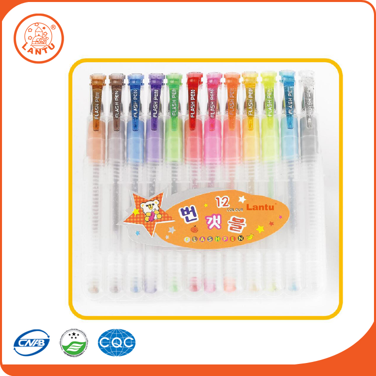 Lantu Latest Stationery Items Wholesale Cute Design Erasable Glitter Gel Pen