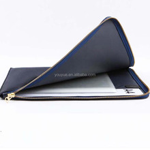 High quality PU leather A4 file pouch with zipper around
