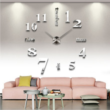 2015 new arrival Quartz clocks fashion watches 3d real big wall clock rushed mirror sticker diy living room decor free shipping