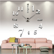 Quartz clocks fashion watches 3d real big wall clock rushed mirror sticker diy living room decor free shipping