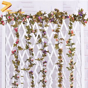 Fake vines home wall decoration artificial mini rose flower vines
