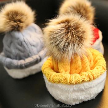 e522018334c8cb Faux fur ball beanie hat yellow pom pom knitting women hats wholesale  winter kids cap fold