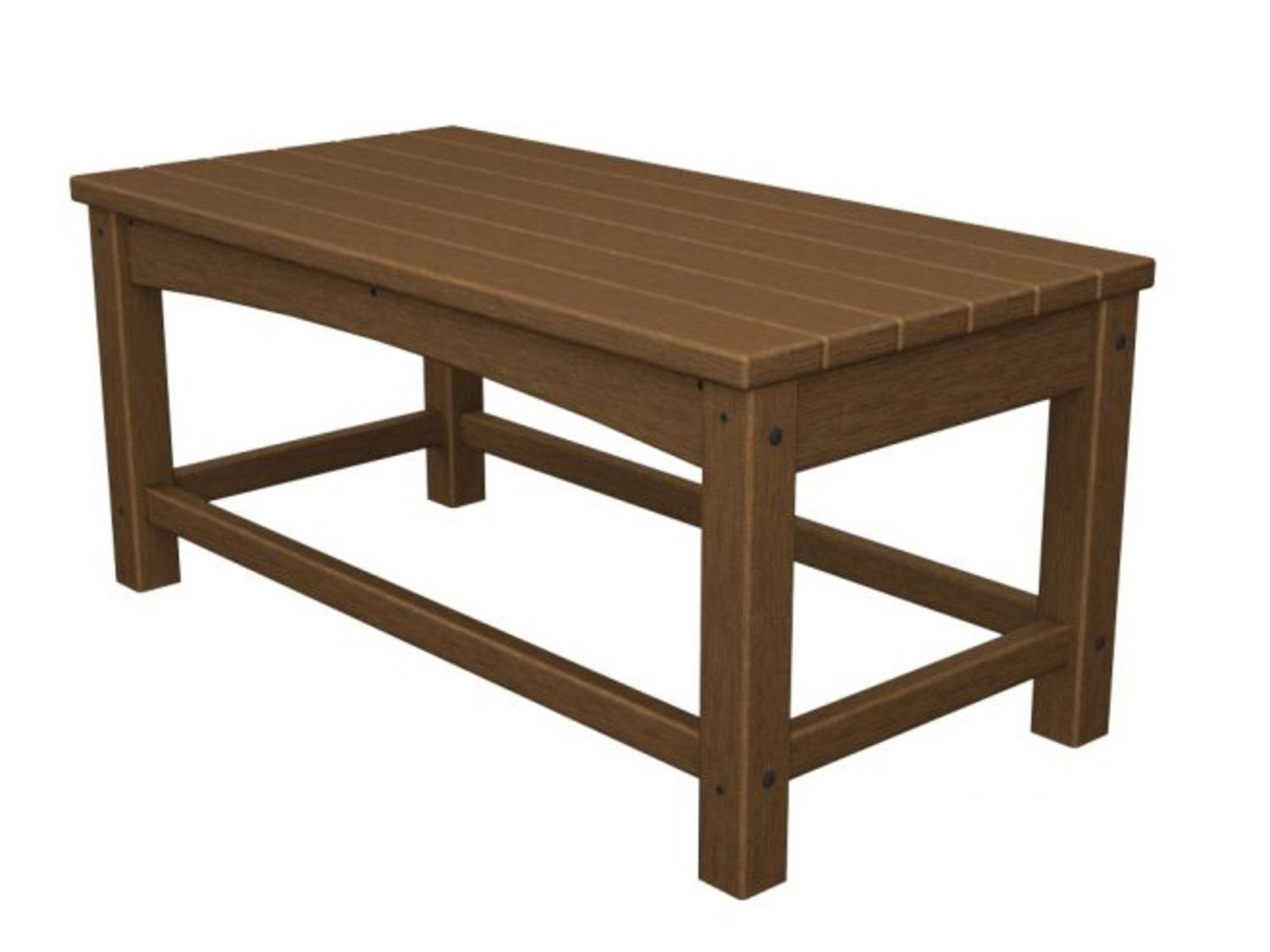 """35.5"""" Recycled Earth-Friendly Outdoor Patio Club Coffee Table - Teak Brown"""