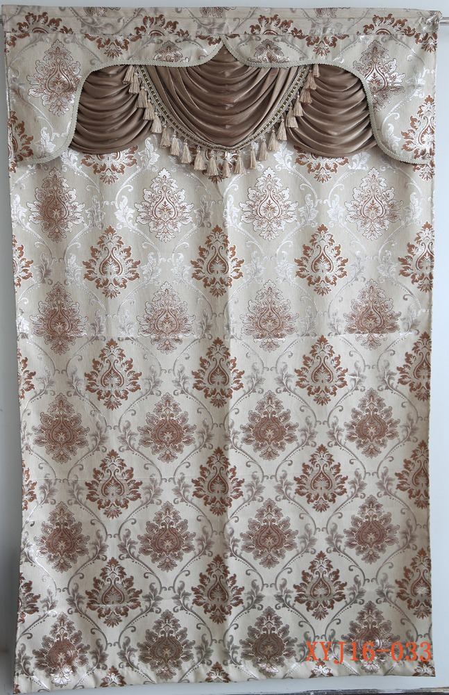Luxury window treatments living room jacquard curtain with valance