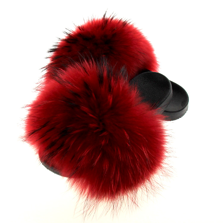 Factory wholesale Red raccoon fur fox fur slides sandals real animal fur <strong>slippers</strong>