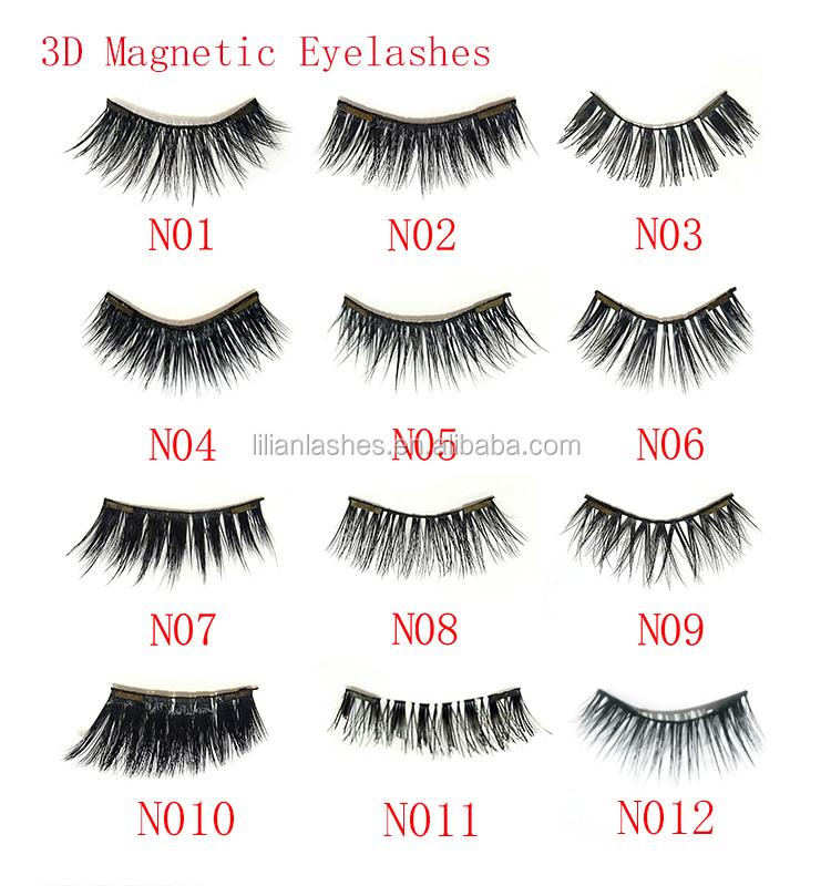2020 Goedkope Magnetische Eyeliner Zwarte Vloeibare Waterdichte Geen Lijm 5 Magneten 3D Magnetische Wimpers 1 Paar Kit met pincet