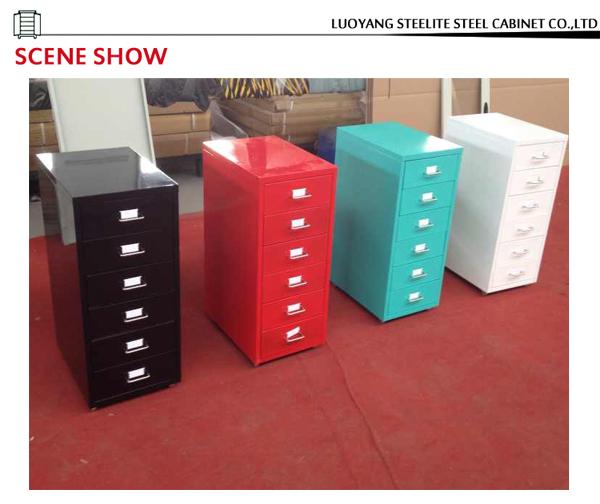 Slim Six Drawer Vertical Red Color Steel Labels Storage Cabinet