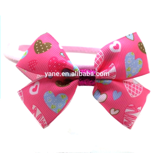 A side big bowknot ,thin hairband with dark pink decoration headband