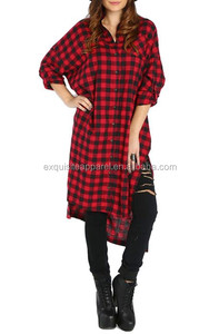 2016 Ladies Red/ Black Plaid Check Button Down Side Cut Long Sleeve Shirt Dress