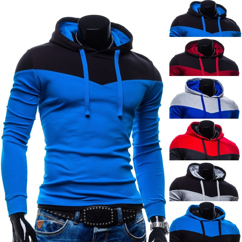 2015 New Zipper Hoodie slim fleece men's hooded coat 6 colors S-XXL