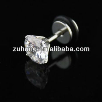 Cz Zircon Fake Plug Piercing Barbell Four Claws Tunnel Body Jewelry Earrings
