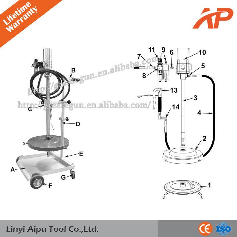 Simple Pneumatic Grease Pump Series, Air Operated Grease Pump ,Popular Vehicle Tools