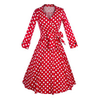 Wholesale Noble Women Print Vintage Rockabilly Polka Dot Swing Dresses