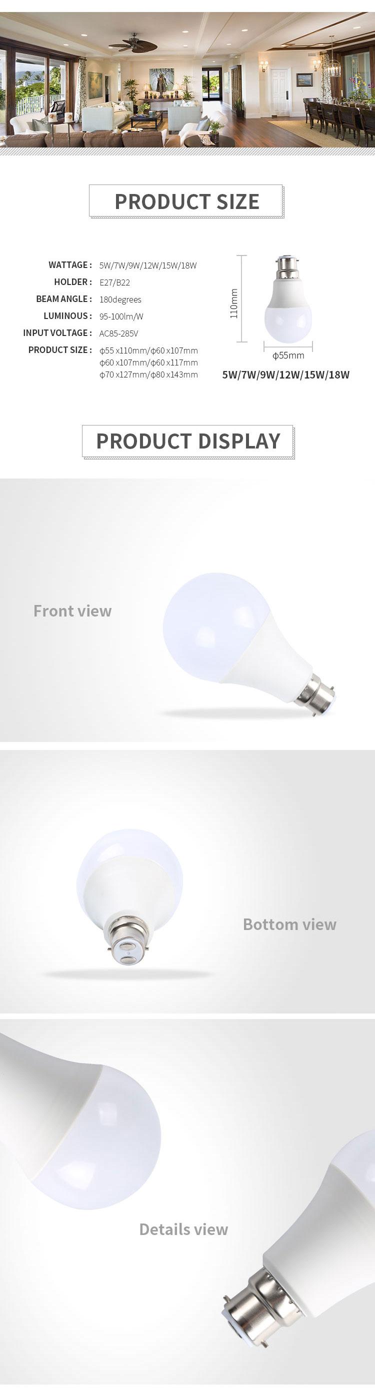 Preço do competidor 5 w 7 w 9 w 12 w 15 w 18 w smd 2835 e27 lâmpada de poupança de Energia diodo emissor de luz
