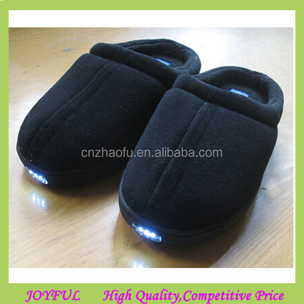 Velvet Memory Foam Men Slippers With Led Light