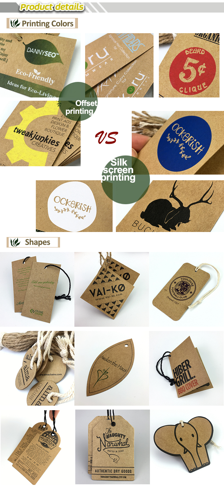 custom cheap printed logo tags embossed thick kraft paper hang tag