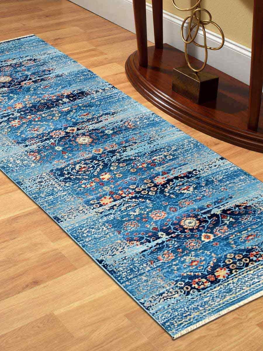 "Crossweave Machine Made Polyester 2'6"" x9'10 Turkish Runner Rug Blue"