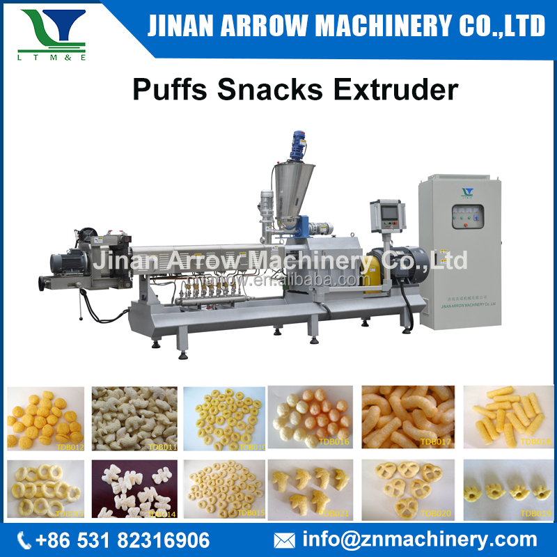 250kg/h inflating puff corn extruder machine extruded snacks process line