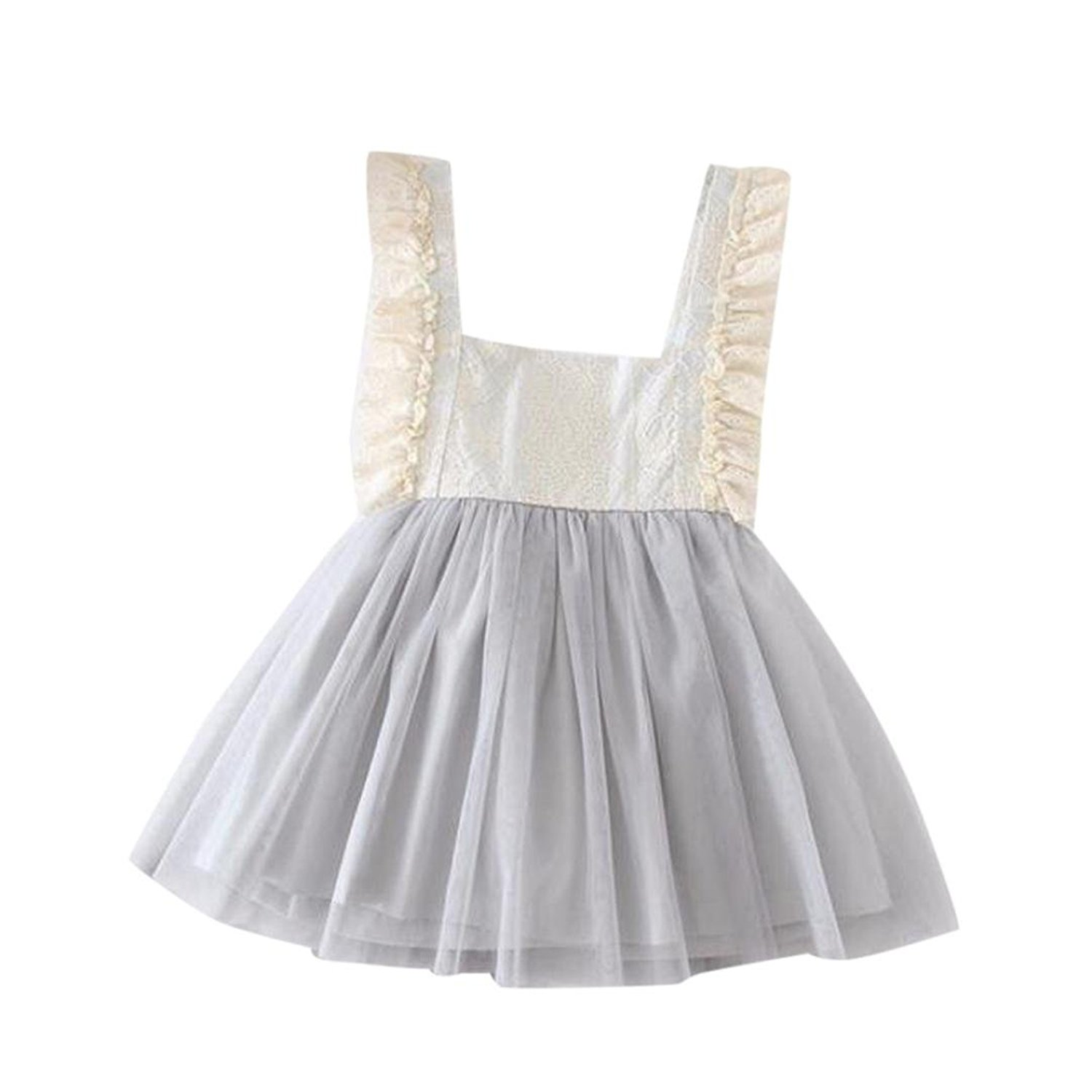 932bf47ff85 Get Quotations · Jarsh Toddler Baby Flower Girls Princess Dress Backless children  Sleeveless Lace Sundresses Clothes