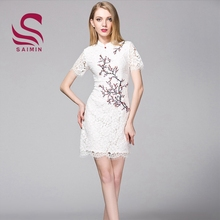 61e3cb35fedeb Spring summer dress new temperament of Chinese wind plum blossom embroidery  qipao
