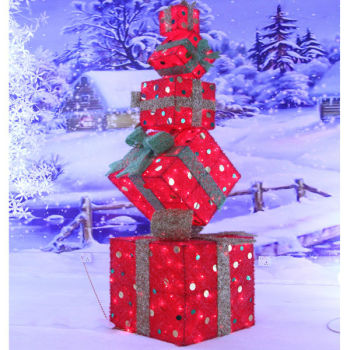 lighting gift box stack for outdoor christmas decoration