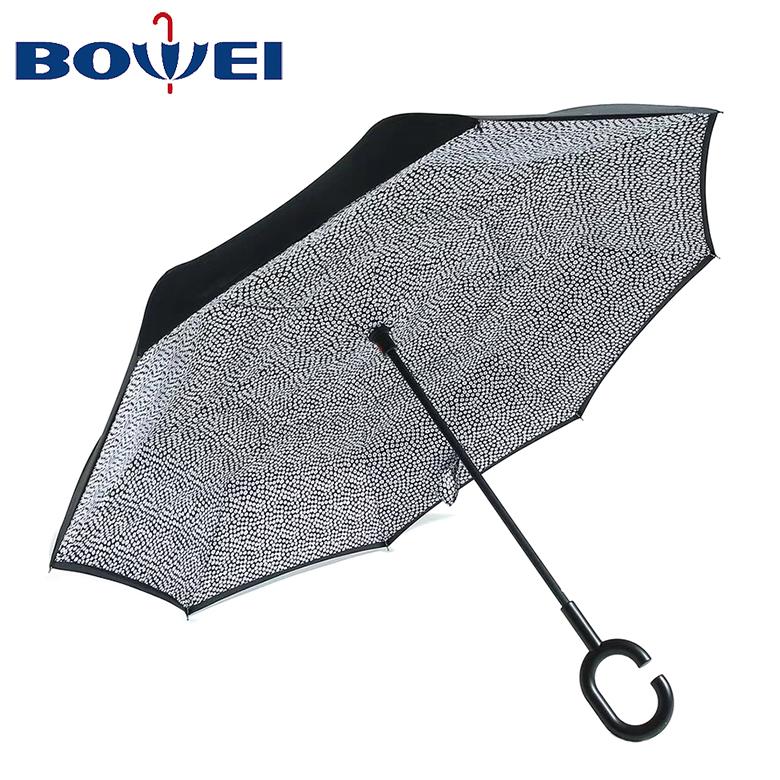 Custom logo printing promotional with C handle inverted rain umbrella