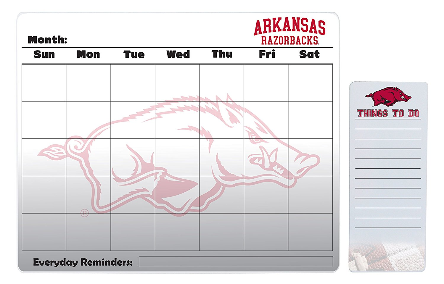 "Arkansas Razorbacks 16"" x 20"" Dry Erase Calendar Peel and Stick and 4"" x 10"" Dry Erase Board Peel and Stick"
