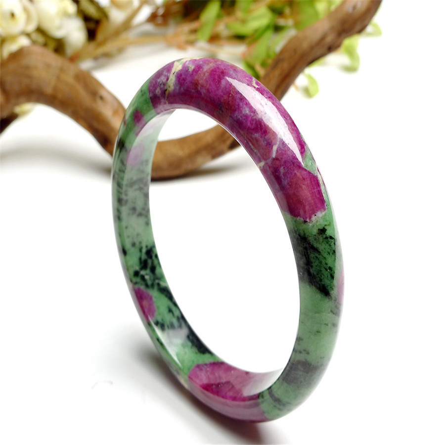 Genuine High Qaulity100 Green And Red Natural Ruby Zoisite Solid Untreated Stone Bangle Bracelet 59mm In Price On M Alibaba