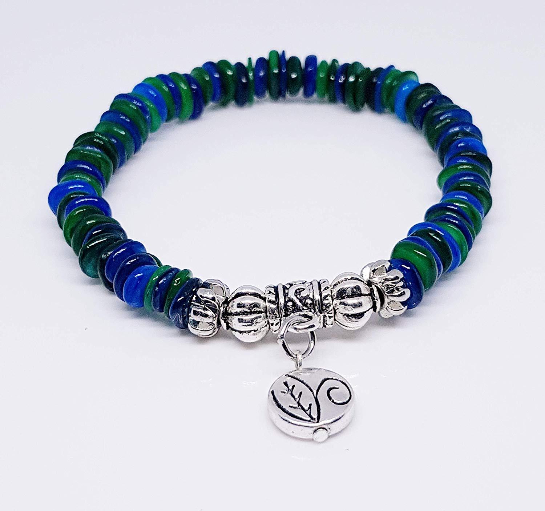 Aventurine Rondelle Beads/Silver Plated Lantern Beads/Silver Metal Tube Drop Bead/Antique Silver Leaf Disc Metal Bead Charm Bracelet