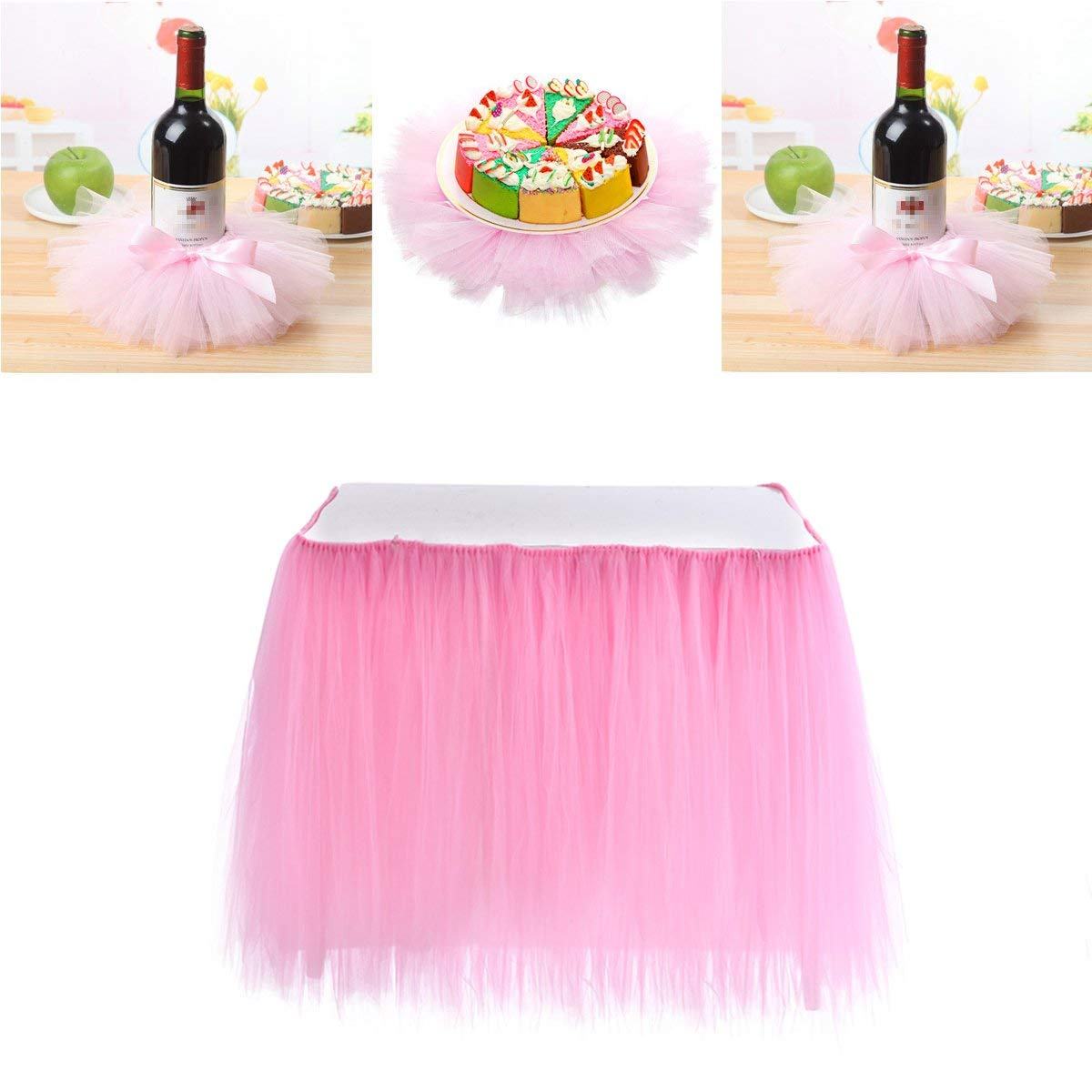 85880f05b9 Haperlare 31 x 36 inch Pink Tulle Table Skirt Tulle Pink Tablecloth and Red Wine  Bottle