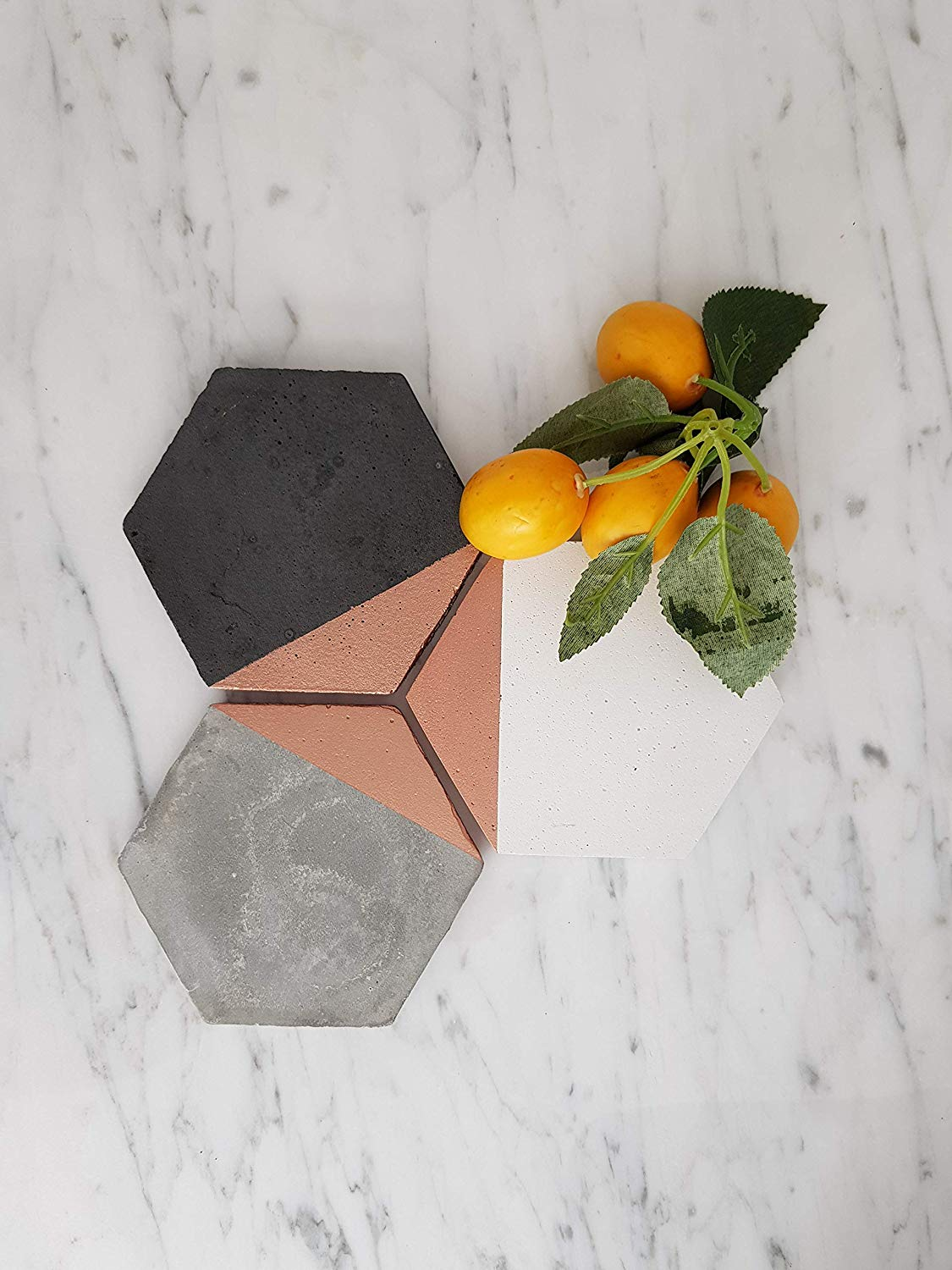 Set Of 4 Hexagon Coasters, concrete coasters,marble coasters,cement coasters,Rose Gold Painted Concrete, Concrete Decor,Grey White Black Coasters