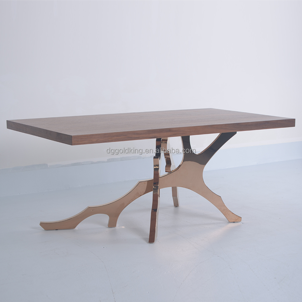 top wood dining table furniture/luxury wood dining table/stainless steel table