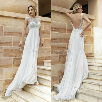 Sexy Chiffon Empire Wedding Dress 2014 Hot Sale Jewel Neck Cap Sleeve Backless Long Beach Bridal