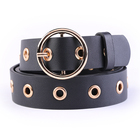 Yiwu Belt factory 3cm pu belt in stock for lady women jeans metal eyelet belts