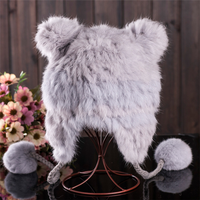 MMZ-56 New Products Custom winter hat fashion woman winter hats real rabbit fur ladies skullcap with cute panda