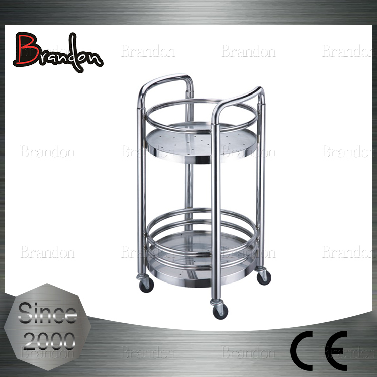 Brandon round tube kitchen beverage serving trolley for catering