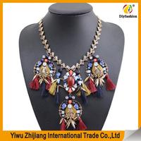 Latest tassel jewelry design wholesale gold bali tassel necklace with gem stone