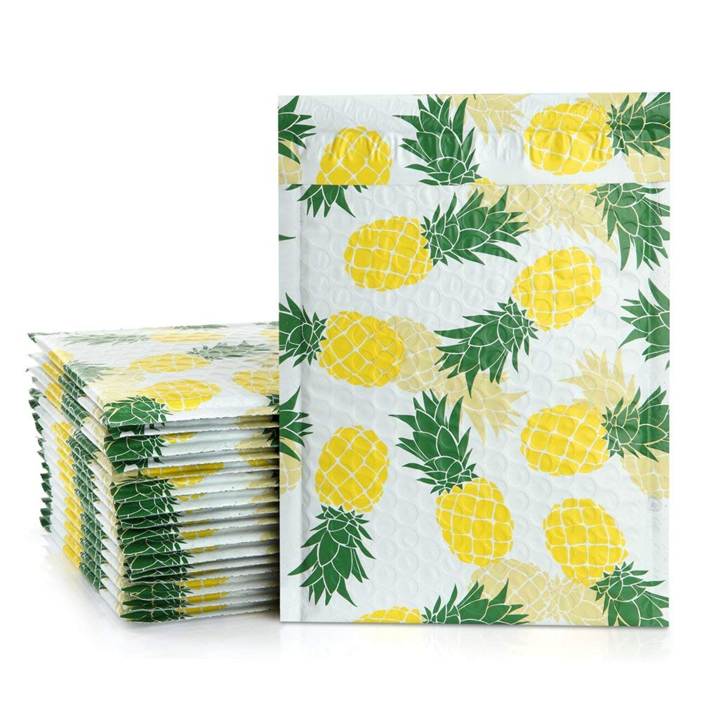 UCGOU 6x10 Poly Bubble Mailers Padded Envelopes Pineapple Designer Boutique Custom Bags CD/DVD Mailers Pack of 25
