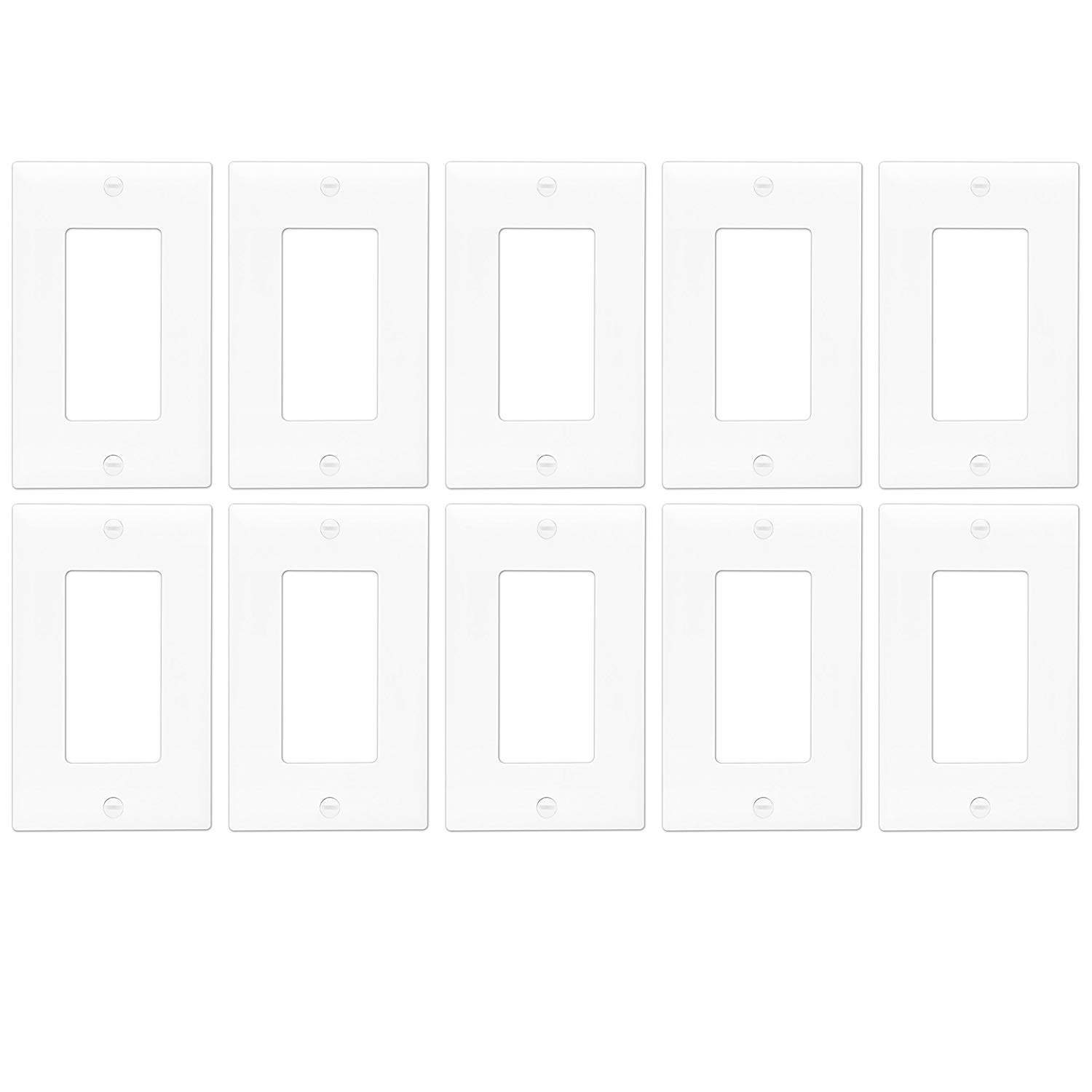 Enerlites 8831M-W-10PCS Decorator Light Switch/Receptacle Outlet Wall Plate, Mid-Size 1-Gang, Polycarbonate Thermoplastic, White, 10 Pack