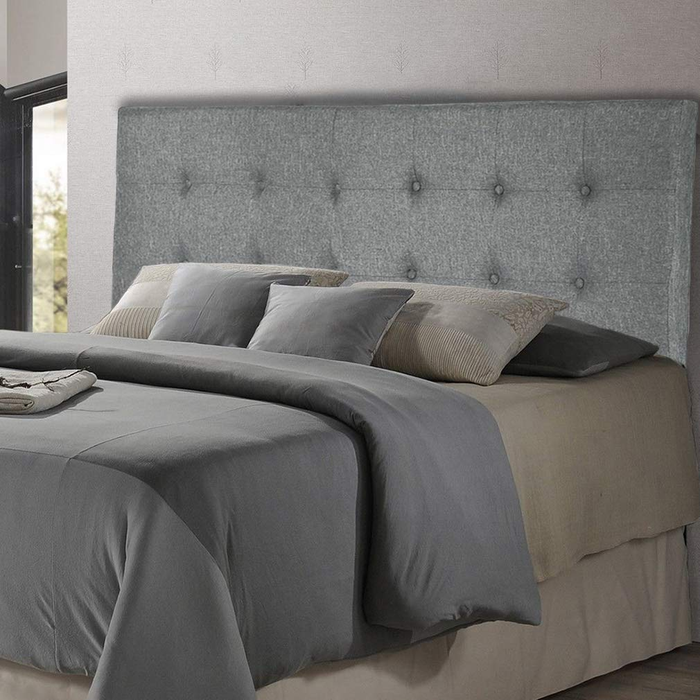 Headboard Fabric Upholstered Headboard with Heavy Duty with Gray Nailheads Modern Linen Tufted Button Full/Queen Size
