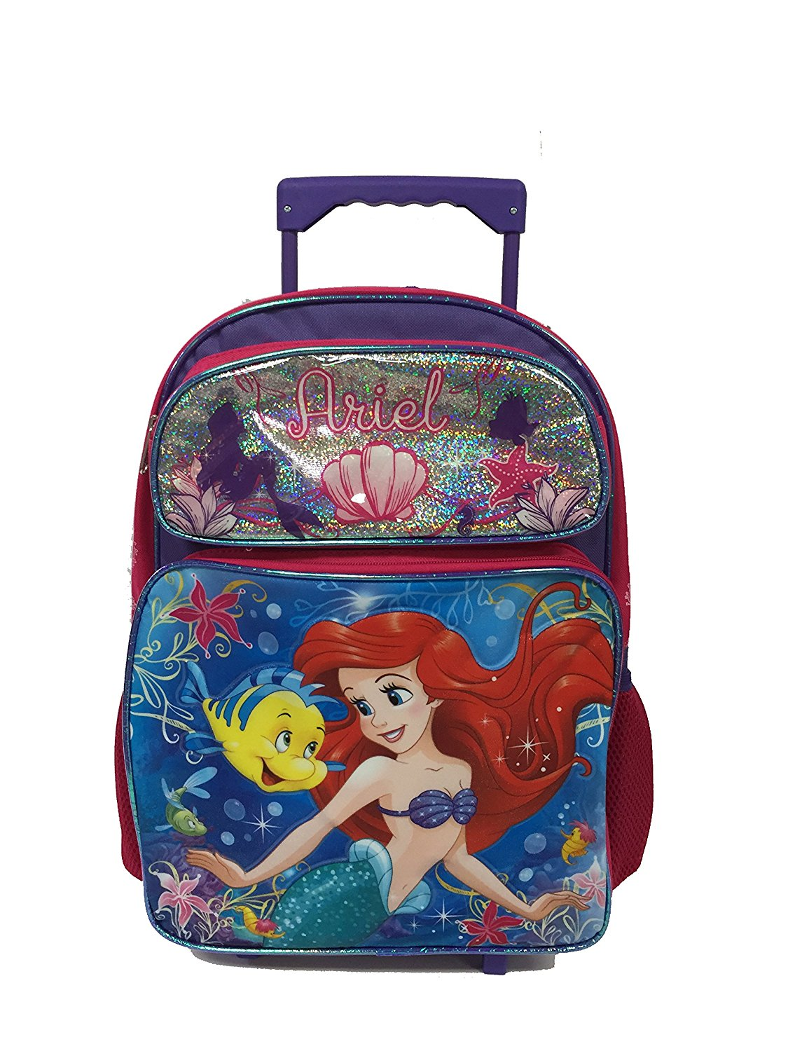 01f7ef5bd8a317 Get Quotations · Princess Deal - Disney Ariel Under the Sea Large Rolling  Backpack Set