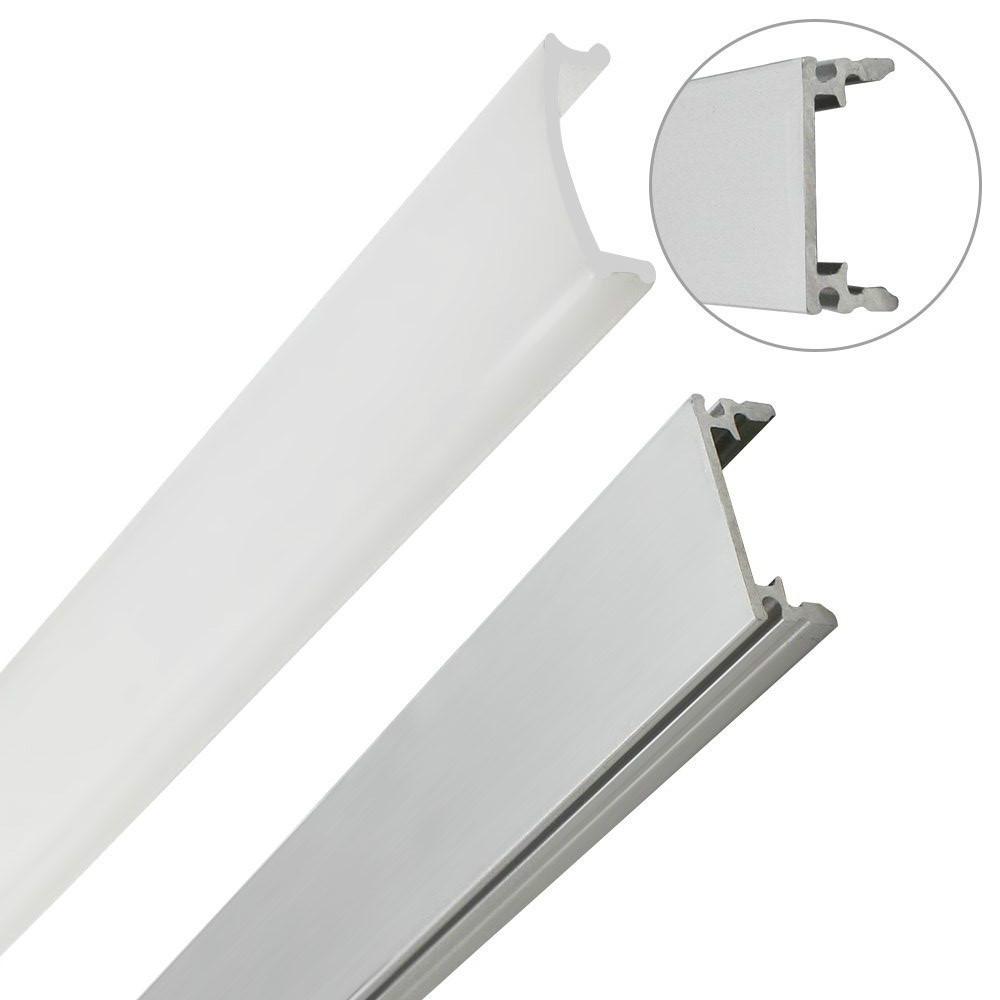 Recessed aluminium profile 2206 1m for led strip strip 1mt rigid bar