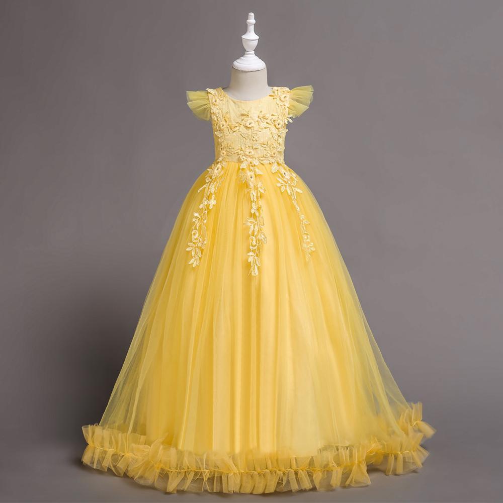f33bbc39f3a08 Enfants robe Fleur Gâteau Enfants Vêtements Élégant main perles costumes Filles  Robes pour Enfants Princesse Partie