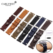 CARLYWET 20 22mm Man Women Handmade Leather Brown Black Red Blue VINTAGE Wrist Watch Band Strap Belt Silver Polished Buckle
