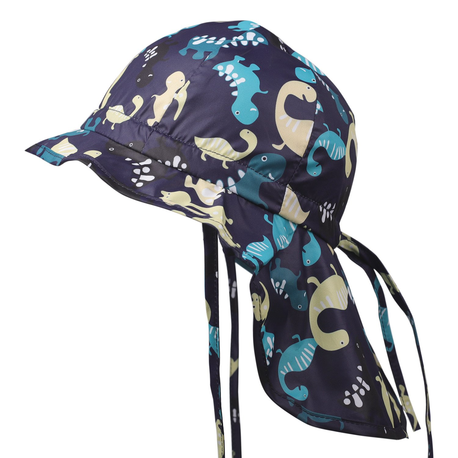 Get Quotations · Flammi Baby Toddler Flap Sun Hat with Chin Strap Adjustable  Cartoon Dinosaur Printed Hat Cap 9134bb7afb24