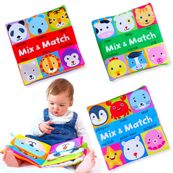 L011 Soft Activity Baby Book Mix and Match Build animals Face baby toys