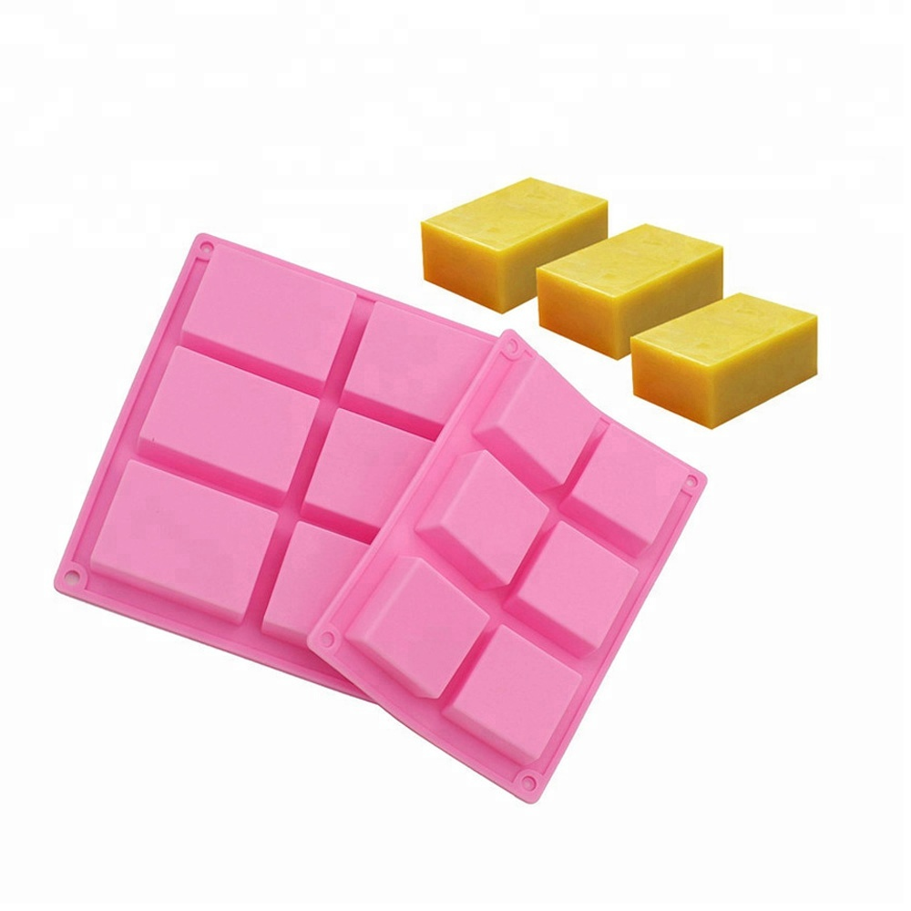 Amazon Top Seller 6 Cavity FDA Approved BPA Free Custom Logo Rectangle 3D Hand Bar Handmade Silicone Soap Mold for Soap Making